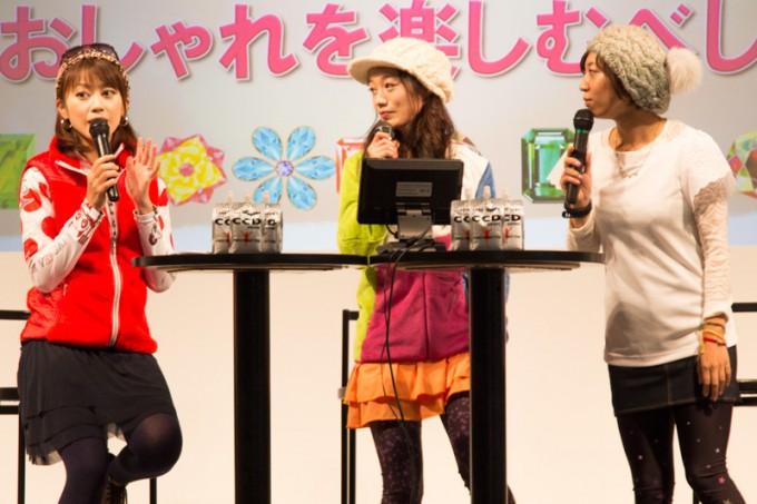 トークショーに参加していたのはサイクルライフナビゲーターの絹代さん、タレントの棚橋麻衣さん、レポーターの菊浦啓子さんの3人