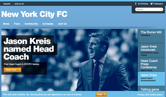 NYCFC公式サイトより。クレイスがトップページに