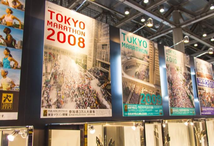 これまでの東京マラソンのポスターがずらり