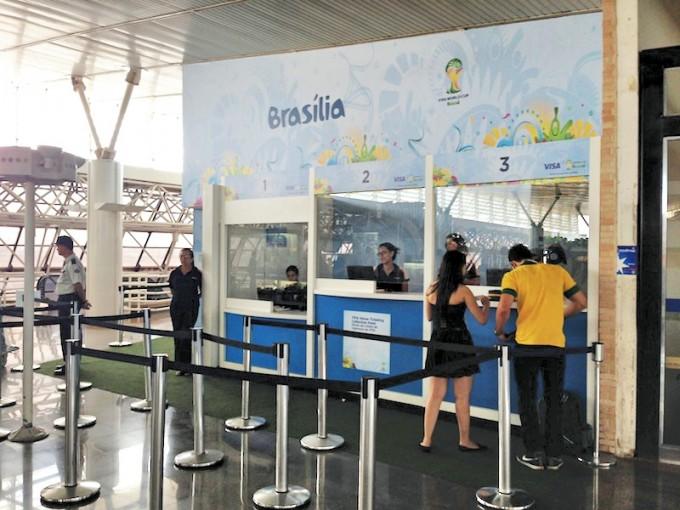 ブラジリア国際空港のFIFAチケットカウンター
