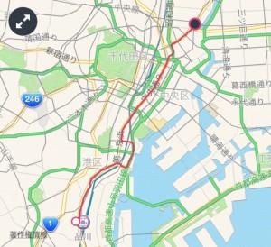 品川駅から出発し、田町→銀座→日本橋→人形町と過ぎて、浅草の雷門まで!